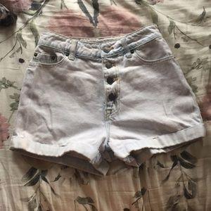 BDG high rise acid wash jean shorts